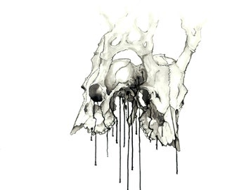 Siamese Deer Skull Print - Giclée Art Print - Sumi Ink Painting - Original Artwork