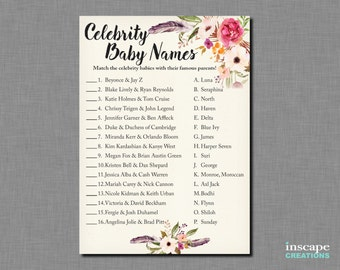Boho Baby Shower Celebrity Baby Name Game - Celebrity Baby Name Match - Bohemian Flowers Feathers Floral Rustic Country Baby Shower Game