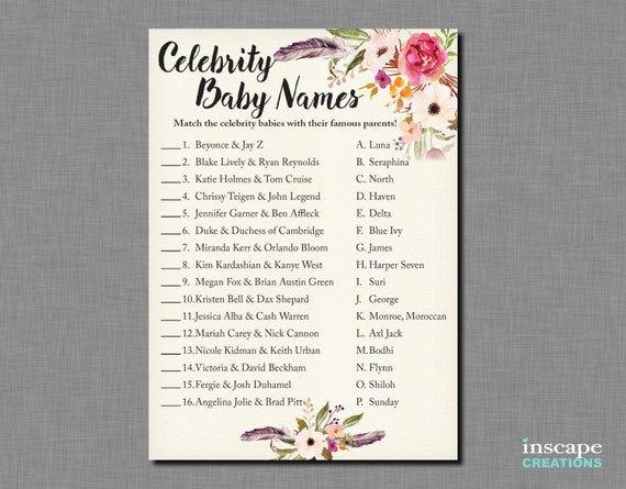 Boho Baby Shower Celebrity Name Game
