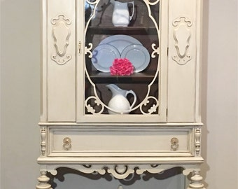 Antique Jacobean China Cabinet Painted in Layers of Cream and Aged-Solid Wood