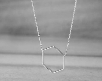 Hexagon Necklace, 14K Gold Necklace, White Gold, Geometric Necklace, Minimalist Jewelry, Dainty Necklace, 9K Gift For Her, Women's Necklace