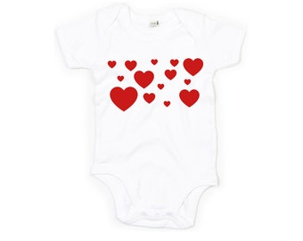 Heart romper, baby hearts romper, hearts collage, baby valentines romper, valentines day romper, baby valentines gift, baby heart romper