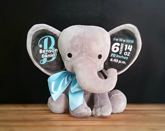 Personalized stuffed elephant, birth announcement, baby boy gift, baby girl gift