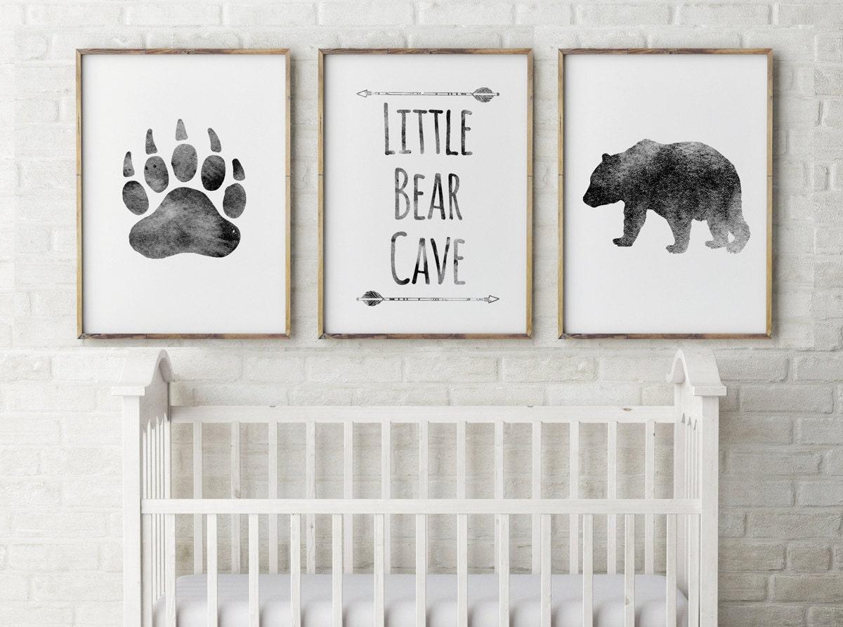 Baby boy nursery decor bear cave grey little bearbear for Baby boy nursery decoration