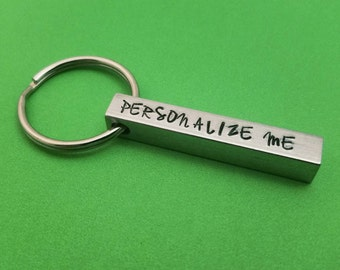 Personalized 4 Sided Aluminum Bar Keychain - Gift For Him - Gift For Her - Customized