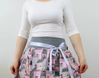 Cat print skirt, bubble skirt, women skirt, summer skirt, pink grey black skirt, midi skirt, cotton skirt, elastic waist, small size skirt