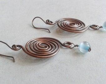 Copper earrings, turquoise earrings, turquoise earrings, pearls, antique copper