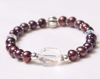 Handmade Freshwater Pearl & Swarovski Crystal Stretch Bracelet - In Shades of Deep Purple