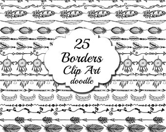 "Tribal border clipart: ""DOODLE BORDERS"" Tribal graphics,Aztec clipart,Indian clipart,Border doodles,Text dividers, Feather border, bohemian"