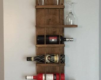 Wall mount wooden wine rack _ wood wine carrier