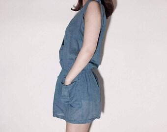 Sleeveless Sky Blue linen dress (FREE size)