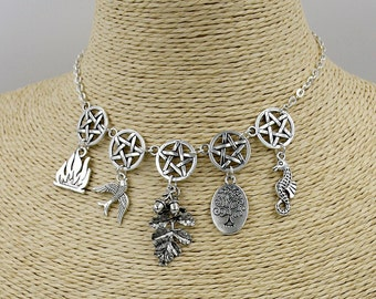 Pagan/Wiccan 5 Elements Necklace/Headdress. Wicca, Pentacle, Fire, Earth, Water, Air, Spirit, Witch, Witchcraft