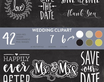 Wedding Clipart, Wedding Clipart Typography, Wedding Overlay, Save the Date Clipart, Save the Date Clip Art, Wedding Clip Art, Wedding PNG