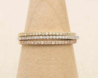 Diamond Solid 18K Gold Micro Pave Thin 1mm Wedding Band Ring Half Eternity AD1104