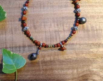 """Bracelet """"Firethorn witch"""" with Jasper and bells"""
