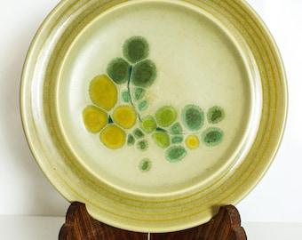 2 Franciscan Earthenware Dinner Plates / Pebble Beach Design / Mid Century Modern / 8.5 Inch Diameter / Yellow Flowers Green Leaves / 53-78