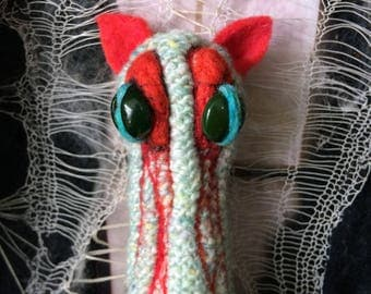 Blood Creature Creepy Cute Macabre Oddity Knitted Art Doll Horror Soft Sculpture Art Textile