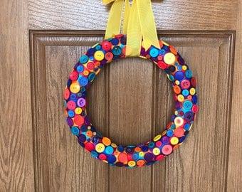 Button Wreath / Rainbow Wreath / Yellow Wreath / Nursery Decor / Kids Decor / Year Round Wreath / Wreath for Front Door / Spring Wreath