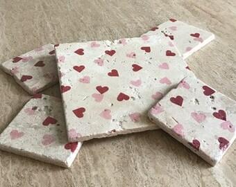 Emma Bridgewater style Hearts Coasters Hand made