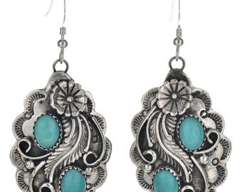 Turquoise Silver Southwest Earrings Navajo French Hooks