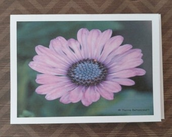 Note Cards - Purple Daisy - Blank Inside - Set of 6 Cards & Envelopes