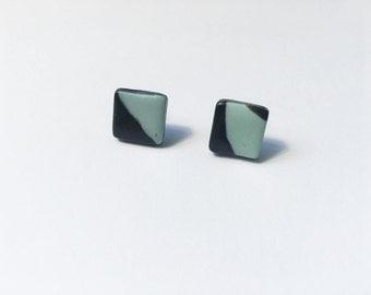 Handmade Black & Mint Square Polymer Clay Minimalist Stud Earrings