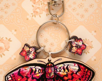 Watercolour Butterfly Fritillary Artwork Keyring Charm, Maple Wood with Flowers, Wildlife Keychain, Gift for Nature Lovers