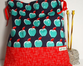 Blue Apple bag,  Knitting Bag, Crochet Bag, Yarn Bag,  Project Bag, Sock knitting bag