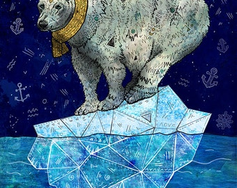 STELLAR EDGE 8x11 Fine Art Print // Polar Bear Illustration, Polar Bear Art, Polar Bear Print, Whimsical, Arctic, Wildlife, Nature, Animals