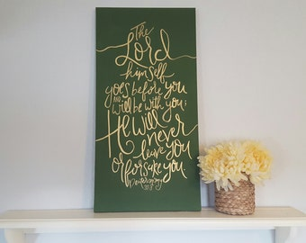Deuteronomy 31:8 // Christian Wall Art // Bible Verse Art // Olive and Gold // Bible Quote