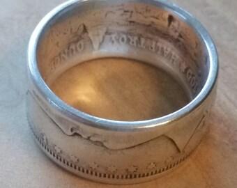 Morgan 1/2 oz Coin Ring Morgan Commemorative Fine Silver Ring Wide Band Silver Morgan Commemorates the Morgan Silver Dollar