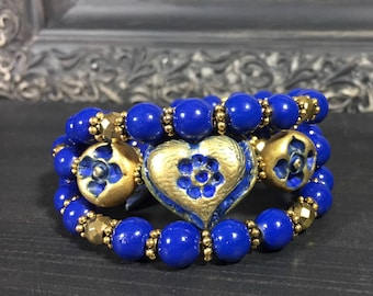 Blue Beaded Wrap Heart Bracelet, Blue And Gold Handmade Bracelet, Boho Bracelet, Memory Wire Bracelet, Women's Gift, Artisan Jewelry, Floral