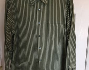 90s Mens Haggar Green shirt with white stripes