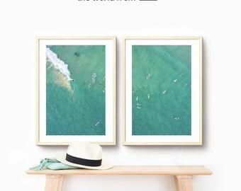 Framed 2-Piece Set, Gold Coast Aerial Beach Photography, Large Wall Art Decor, Fine Art Photography, Art Prints, Australia