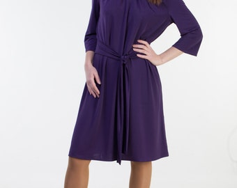 CLEARANCE - one size sale - Eggplant bridesmaid dress Dark purple bridesmaid dress cheap bridesmaid dress Short bridesmaid dress with sleeve