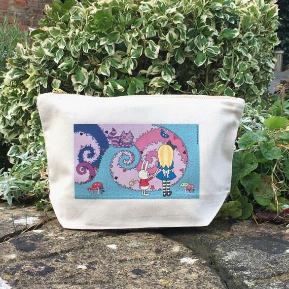 Alice in Wonderland Cute Canvas Large Zip Purse, Wash Bag, Makeup Bag, Toiletry Bag, Zipper Pouch