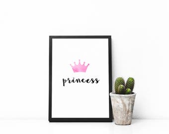 Princess Nursery Printable, Watercolour Pink Crown, Download, Digital Print, Wall Art, Home Decor, Children's Bedroom, Baby Shower Gift