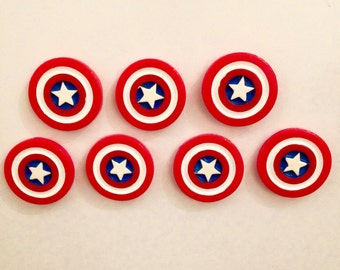 2x Marvel Captain America Shield Acrylic Fridge Magnet