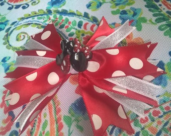 Red Polka Dot Bow with Minnie and Mickey Mouse on a Barrette