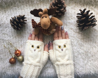 Crochet mitts fingerless owl gloves wool woman knit mittens autumn Warm white mitts, Knitted warm fingerless knit mittens croched gloves