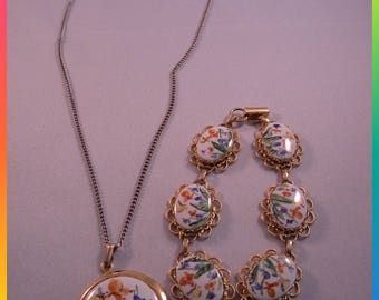 Vintage Costume Jewelry Set, Hand Painted Flowers/Butterflies on White Porcelain Set in Gold Tone Pendant Necklace & Bracelet, Artist Signed