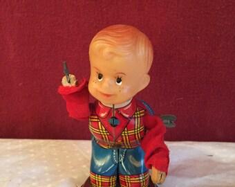 1950's Vintage Yonezawa Tin Toy / Wind up Figurine.
