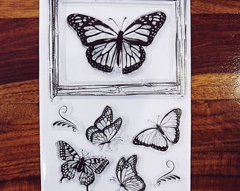 Butterfly Frame Set Clear Stamps for Traveller's Notebook, Journal Accessories