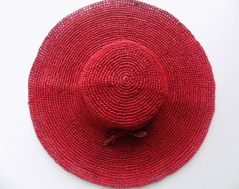 Hat woman, wide-brimmed Red Hat, wide brim, to natural raffia hat, flexible hat, foldable hat, Adjustable Hat, made hand, beach, holiday