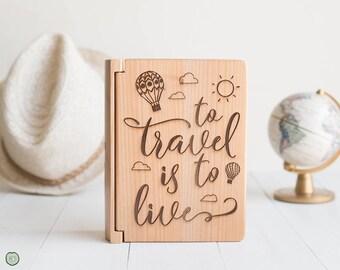 Travel Photo Album, To Travel is to Live, Travel Quote Gifts, Wedding Gift, World Travel, Wedding Anniversary, Wood Album Photo Storage PA4