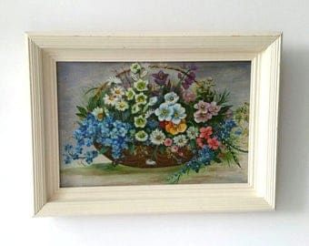 Antique framed painting 'flower basket'