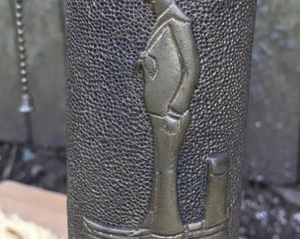 WW1 Trench Art Lamp Hand Etched Sailor and Floral Motif