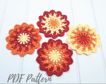 Crochet coaster PDF PATTERN, crochet table decor, wool coaster pattern, crochet gift, crochet home decor