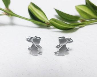 Origami Rabbit Earrings, Origami Animal jewelry, Origami Bunny Earrings, Rabbit Stud Earrings, Gold Rabbit Earrings, cute Earrings
