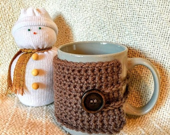 Brown, Crochet Mug Cozy - Handmade Mug Cozy with Brown Button and Loop - Great Gift or Stocking Stuffer!